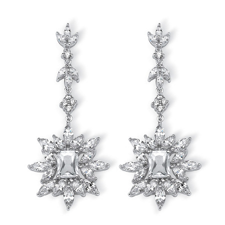 10.98 TCW Marquise and Emerald-Cut Cubic Zirconia Starburst Drop Earrings Platinum-Plated at PalmBeach Jewelry