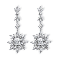 Marquise And Emerald-Cut Cubic Zirconia Starburst Drop Earrings ONLY $16.95