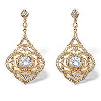 SETA JEWELRY 5 TCW Round Bezel-Set Cubic Zirconia Drop Earrings 14k Gold-Plated