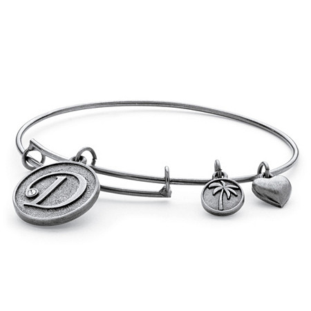 Personalized Initial Charm Bangle MADE WITH SWAROVSKI ELEMENTS in Antiqued Silvertone Adjustable 7