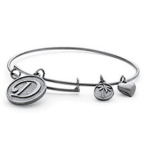 "Personalized Initial Charm Bangle MADE WITH SWAROVSKI ELEMENTS in Antiqued Silvertone Adjustable 7""-9"""