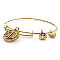 Personalized Initial Charm Bangle MADE WITH SWAROVSKI ELEMENTS in Antiqued Gold Tone