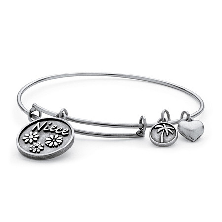 Niece Charm Bangle Bracelet in Antique Silvertone at PalmBeach Jewelry