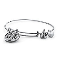Niece Charm Bangle Bracelet in Antique Silvertone