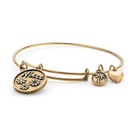 Niece Charm Bangle Bracelet in Antique Gold Tone at PalmBeach Jewelry