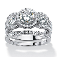 Round Cubic Zirconia Two-Piece Halo Bridal Set In Platinum Over Sterling Silver ONLY $115.50