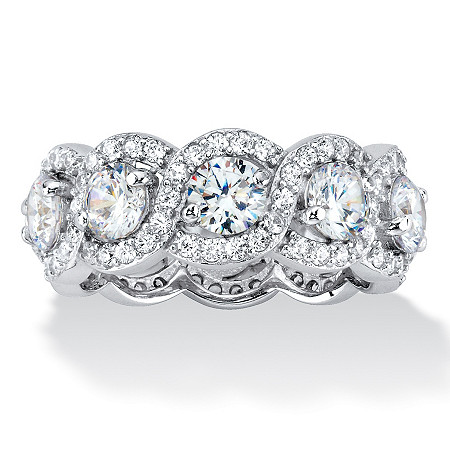 4.60 TCW Cubic Zirconia Halo Crossover Eternity Ring in Platinum over .925 Sterling Silver at Direct Charge presents PalmBeach