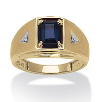 Men's 1.15 TCW Emerald-Cut Created Sapphire and Diamond Accent Ring in 10k Yellow Gold