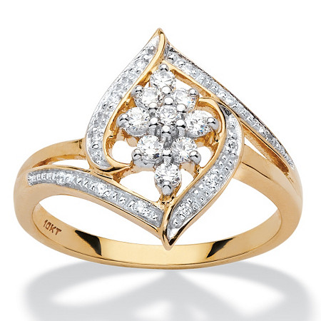 1/4 TCW Round Diamond Cluster Halo Ring in 10k Yellow Gold at PalmBeach Jewelry