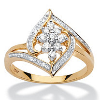 1/4 TCW Round Diamond Cluster Halo Ring in 10k Yellow Gold