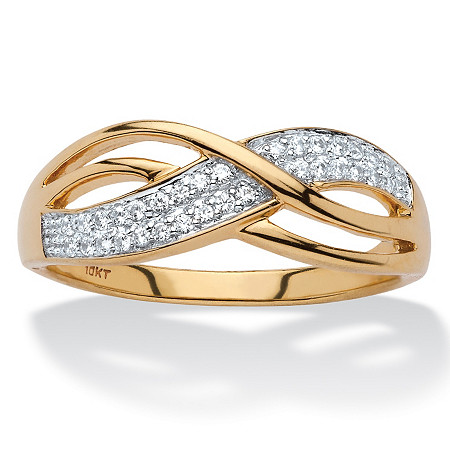 1/6 TCW Round Diamond Crossover Band in Solid 10k Yellow Gold at PalmBeach Jewelry