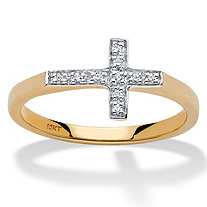 Diamond Accent Horizontal Cross Ring in 10k Yellow Gold