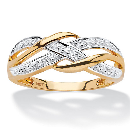 Diamond Accent Braided Crossover Ring in Solid 10k Yellow Gold at PalmBeach Jewelry