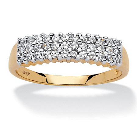 1/3 TCW Round Diamond Cluster Triple-Row Band in 10k Yellow Gold at PalmBeach Jewelry