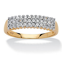 1/3 TCW Round Diamond Cluster Triple-Row Band in 10k Yellow Gold