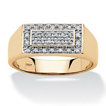 Men's 1/5 TCW Diamond Cluster Grid Ring in 10k Yellow Gold