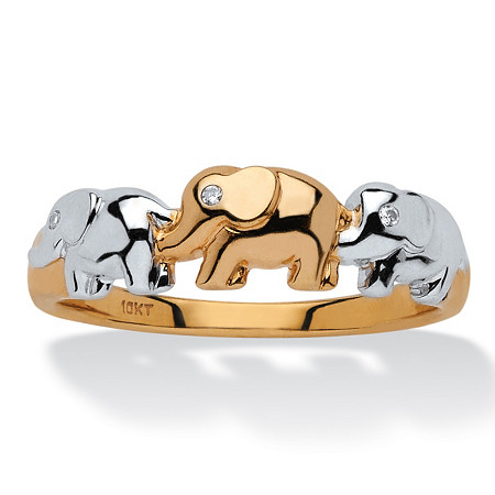Diamond Accent Two-Tone Elephant Ring in 10k Gold at PalmBeach Jewelry
