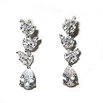 6 TCW Pear and Marquise-Cut Cubic Zirconia Drop Earrings Platinum-Plated