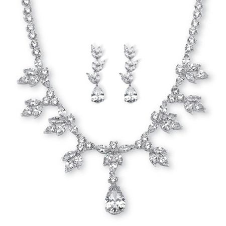 Pear and Marquise-Cut Cubic Zirconia Necklace and Earrings Set 42.93 TCW Platinum-Plated at PalmBeach Jewelry