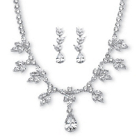 Pear & Marquise-Cut CZ Necklace And Earrings Set 42.93 TCW Platinum-Plated ONLY $69.99