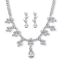 42.93 TCW Pear and Marquise-Cut Cubic Zirconia Necklace and Earrings Set Platinum-Plated