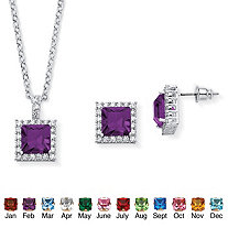 SETA JEWELRY .30 TCW Princess-Cut Simulated Simulated Birthstone Halo Pendant Necklace and Earrings Set in Silvertone