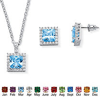 SETA JEWELRY .30 TCW Princess-Cut Simulated Birthstone Halo Pendant Necklace and Earrings Set in Silvertone