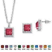 .30 TCW Princess-Cut Simulated Birthstone Halo Pendant Necklace and Earrings Set in Silvertone