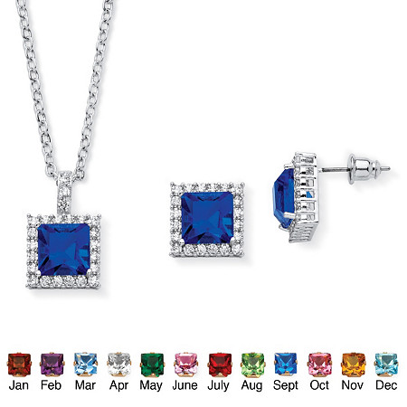 .30 TCW Princess-Cut Simulated Birthstone Halo Pendant Necklace and Earrings Set in Silvertone at PalmBeach Jewelry