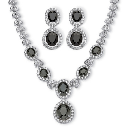40.46 TCW Marquise and Oval-Cut Cubic Zirconia Halo Two-Piece Jewelry Set Platinum-Plated at PalmBeach Jewelry