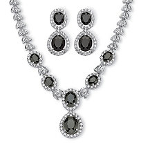 40.46 TCW Marquise and Oval-Cut Cubic Zirconia Halo Two-Piece Jewelry Set Platinum-Plated