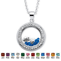 .46 TCW Birthstone and CZ Floating Charm Pendant MADE WITH SWAROVSKI ELEMENTS in Silvertone