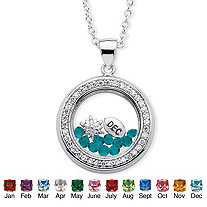 .46 TCW Simulated Birthstone and CZ Floating Charm Pendant MADE WITH SWAROVSKI ELEMENTS in Silvertone