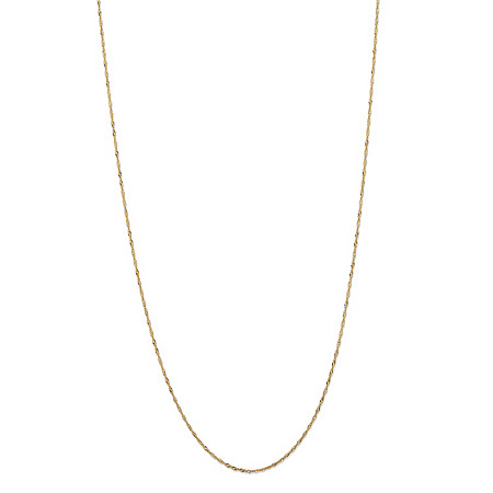 Adjustable Slide Singapore-Link Chain Necklace in Solid 10k Yellow Gold 22