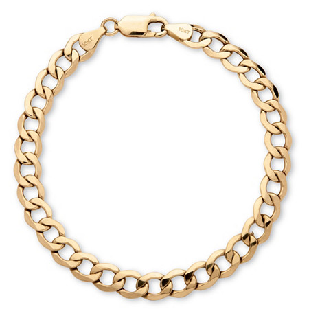 Men's Curb-Link Chain Bracelet in 10k Yellow Gold 8