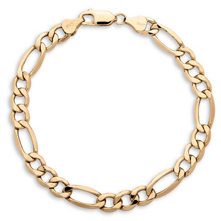 "Men's Figaro-Link Chain Bracelet in 10k Yellow Gold 8"" (7.5mm) at PalmBeach Jewelry"