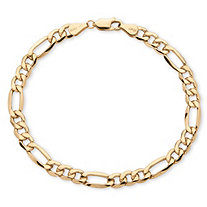 "Men's Figaro-Link Chain Bracelet in 10k Yellow Gold 8"" (6.5mm)"