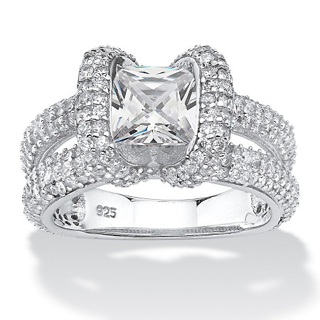2.70 TCW Princess-Cut Cubic Zirconia Split-Shank Engagement Ring in Platinum over Sterling Silver at PalmBeach Jewelry