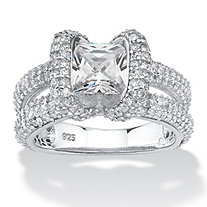 2.70 TCW Princess-Cut Cubic Zirconia Split-Shank Engagement Ring in Platinum over Sterling Silver