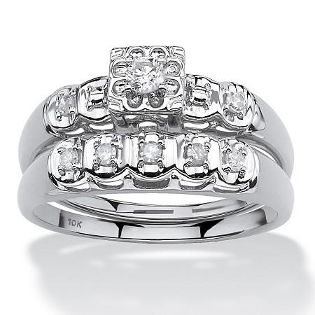 1/4 TCW Round Diamond Two-Piece Bridal Set in 10k White Gold at PalmBeach Jewelry