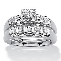 SETA JEWELRY 1/4 TCW Round Diamond Two-Piece Bridal Set in 10k White Gold