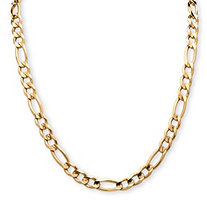 Men's Figaro-Link Chain in 14k Yellow Gold Ion-Plated Sterling Silver