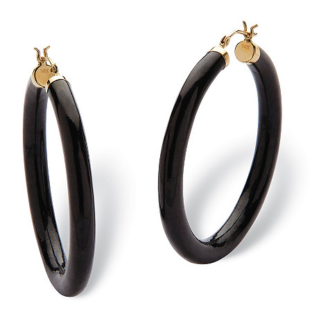 Genuine Black Jade Hoop Earrings in 14k Yellow Gold (1 3/4
