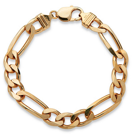 "Men's Figaro-Link Chain Bracelet in 14k Yellow Gold over Sterling Silver 8.5"" (10mm) at PalmBeach Jewelry"