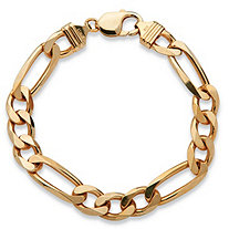 "Men's Figaro-Link Chain Bracelet in 14k Yellow Gold over Sterling Silver 8.5"" (10mm)"