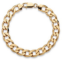 "Men's Curb-Link Chain Bracelet in 14k Yellow Gold over Sterling Silver 8"" (9mm)"