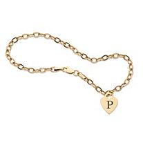 Personalized Initial Heart Charm Bracelet in Solid 14k Yellow Gold 7.5""