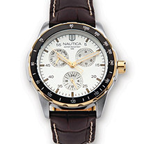 Men's Stainless Steel Nautica Water-Resistant Watch with Brown Leather Band
