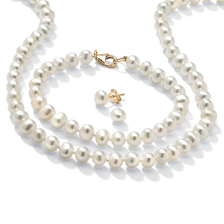 Genuine Cultured Freshwater Pearl 3-Piece Jewelry Set in 14k Gold over .925 Sterling Silver at PalmBeach Jewelry