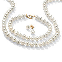 Genuine Cultured Freshwater Pearl Three-Piece Jewelry Set in 14k Gold over .925 Sterling Silver